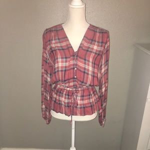 NWT SZ M ROMEO+JULIET COUTURE RED PLAID BLOUSE